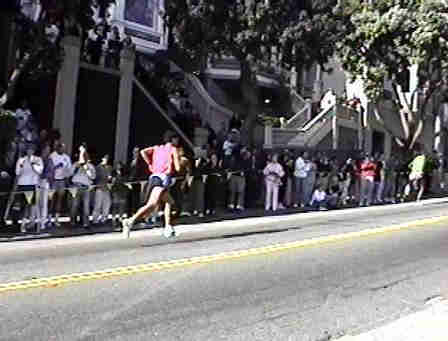 Bay to Breakers Race, two men on way to top of hill.
