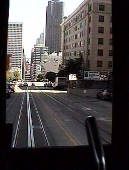 Looking out the rear of cable car.
