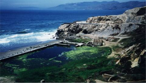 Sutro Baths with water in them.